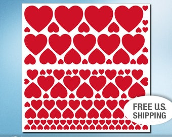 114 Red Hearts Decals, Vinyl Stickers, Heart Lovers Valentines Day Decorations, Removable Wall Stickers (01711c0v)