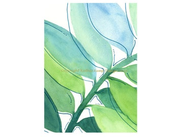 Abstract Watercolor Painting Giclee Print Mint Blue Aqua Green 5X7 Minimalist Leaves Modern Art Home Wall Decor Beach House Cottage Chic
