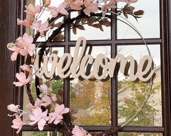 Welcome Wreath - Door Wreath - Hoop Wreath - Winter Wreath - Entry Wreath - Modern Wreath - Pink Wreath - Welcome - Plan B Decor