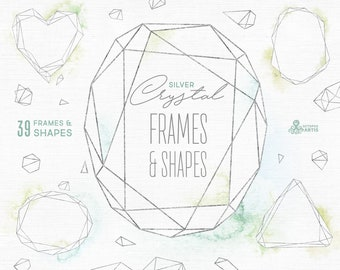 Crystal Silver. Frames & Shapes with/without Watercolor Washes, Polygonal Pre-made Clipart, splash, geometry, wedding, template, trend, crsi
