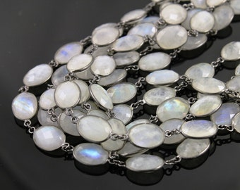 Rainbow Moonstone Bezel Chain Component, 11x10 mm ,Sold By the Foot (GMCOX-RNB-01)