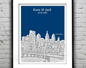 Philadelphia PA Wedding Guest Book Guestbook Poster Print -City Skyline Pennsylvania PA