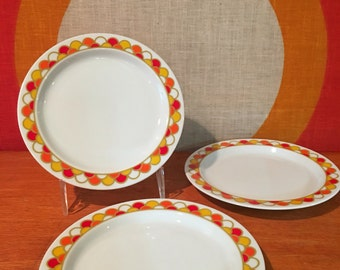 Vintage Georges Briard Carousel Pattern, Bread and Butter Plates, set of 3, Georges Briard Boutique Fine China Dessert Plates, 6.25