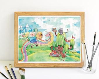 Adventure Time Watercolor Art Print | Finn and Jake and Lady Rainicorn