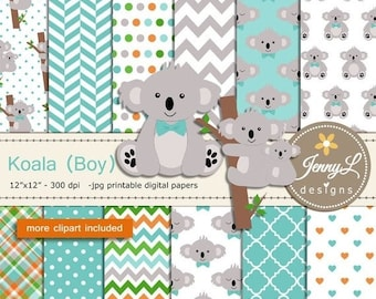 50% OFF Koala Boy digital papers and clipart SET for Digital Scrapbooking, baptism, birthday invitations Planner