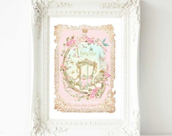 Once upon a time fairy tale princess carriage, nursery decor, baby girl, nursery print, A4 giclee