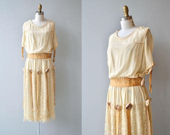 Honeycomb silk dress | vintage 1920s silk dress | silk velvet lace 20s dress