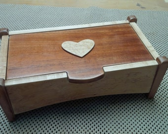Heart Trinket Box or Memory Box Handcrafted from Mahogany & Maple - Hinge pin lid and corner post design