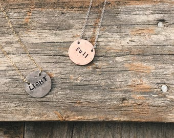 16 in. Metal Stamped Coin Necklace Customizable