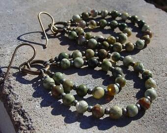 Rhyolite  and Glass Seed Bead Earrings on Brass Ear Wires, One of a Kind Earrings, Boho Earrings, Green Earrings