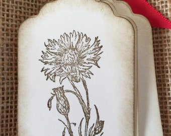 Flower Thistle  tags    flower gift tags   rustic tags   antique party tags   small Favor tags   field flowers Tags   rustic gift tags  