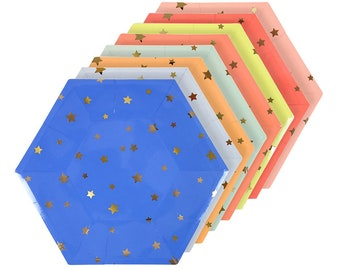 Jazzy Star, Gold Star Paper Plates, Meri Meri, Star Theme, Twinkle Twinkle Little Star, Star Plates, Gold Birthday Star, Baby Shower Plates