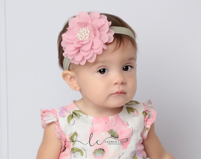 Dusty Rose and Sage Headband for all ages, pretty soft pink, baby headband, first birthday, pearls, vintage pink by Lil Miss Sweet Pea