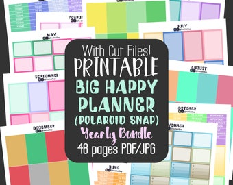 Big Happy Planner Printable Stickers - Bundle - Yearly Planner Stickers - 48 Sheet Printable Bundle SAVE more than 80% - Cut Files