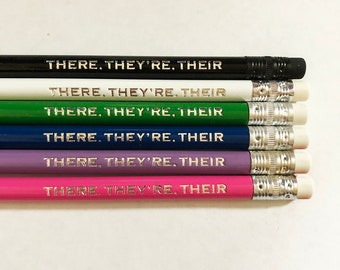 There Their They're Pencils, English Teacher Gifts, Hand Stamped Pencils, Custom Teacher Gifts, Editor Gifts for Writers, Grammar Pencils