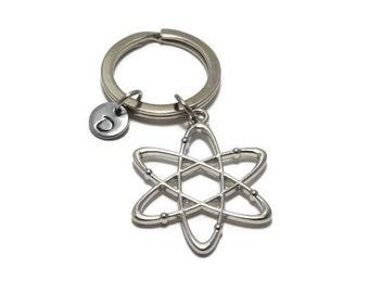 Atom Keychain, Chemistry Keychain, Atomic, Scientist, Science, Physics, Molecule, Teacher, Geek, Nerd, Personalized, Customized, Initial