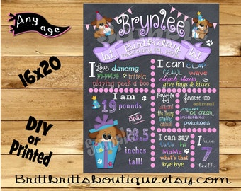 First Birthday Chalkboard sign girl 1st birthday girl dog chalk board photo prop customized first birthday poster digital file or printed