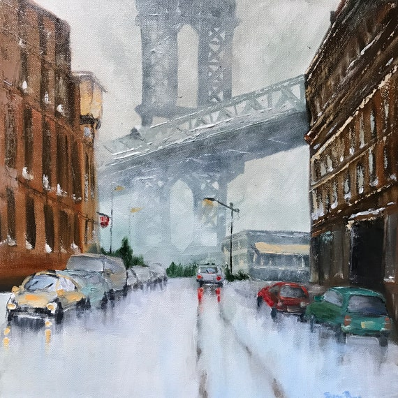 New York Painting, Brooklyn Bridge, City Oil Painting, NYC Landscape