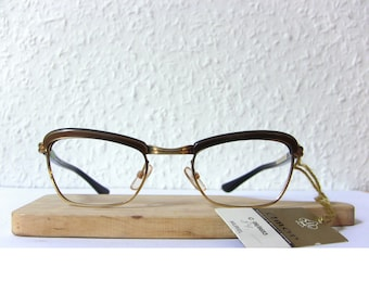 NOS Amor France 60's Eye Glasses New Old Stock  Gold Filled w Bronze Brown Frame Eyewear FREE SHIPPING Small Size Women's Lady Perfect Gift
