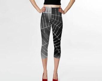Spiderweb Capris, Capri Leggings, Yoga Leggings, Cob Web Capris, Black and White Legging Capris, Spider Web Yoga Pants, Gothic Leggings
