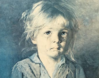 Vintage, Retro kitsch crying girl picture