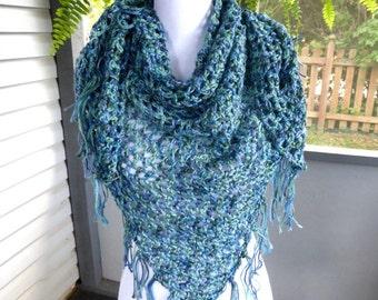 SALE Crochet Shawl ~ Lightweight Scarf ~ Any Season Scarf ~ Blue Green Shawl ~ Triangle Fringe Scarf ~ Crochet Fringe Scarf ~ Boho Scarf