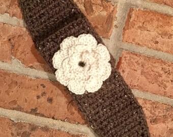 Buttoned Ear Warmer/Headwrap with Flower