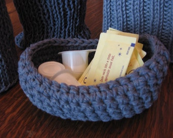 Recycled Cotton Basket Hand Crocheted in Denim Blue Yarn