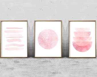 Pink Prints Set of 3, Pink Wall art, Blush Abstract Watercolor Geometric art Nursery art Printable Modern art Minimalist Boho Decor Minimal