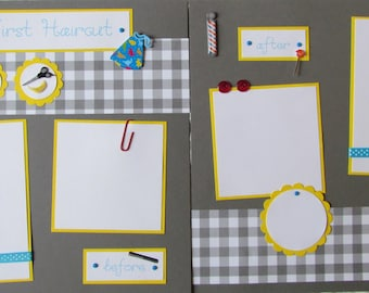 Premade 12x12 Scrapbook Pages -- MY FIRST HAIRCUT layout -- boy, girl - Baby's 1st Haircut - first 1st year album, baby scrapbooking