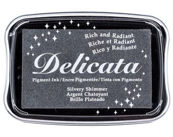 Delicata Silvery Shimmer Pigment Ink Pad Rubber Stamping Supplies & Paper Crafts