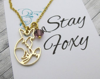 For Her-Foxy-Best Friend Gift-Gift Woman-'Stay Foxy'-Fox Charm Gold necklace-Fox necklace-Fox Jewelry-Animal Jewelry-Woodland animal gift