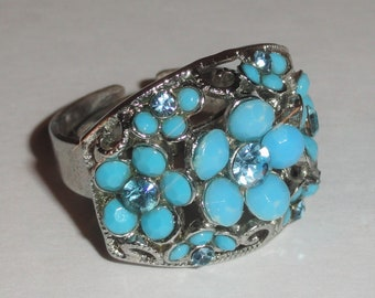 Silver Tone Faux Turquoise FLOWERS FLORAL Costume Adjustable Ring