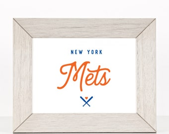 "New York Mets Baseball Custom Print - 8"" X 10"" Printable Download Wall Art - Full Color"