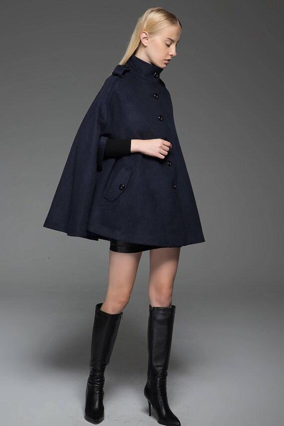 Cape coat, navy cape, womens jackets with epaulettes, poncho coats, wool  cape, navy blue cape, woman coat, winter warm coat, short coat C754