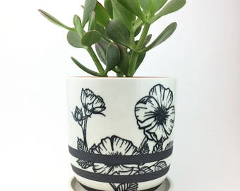 MADE TO ORDER Porcelain Planter with Hand Painted Floral Design