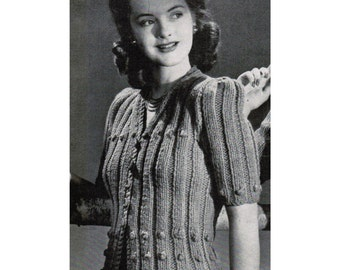 1940's Woman's Ribbed Cardigan Knitting Pattern PDF / Vintage Ribbed Sweater Pattern / Mad Men Sweater / Instant Download