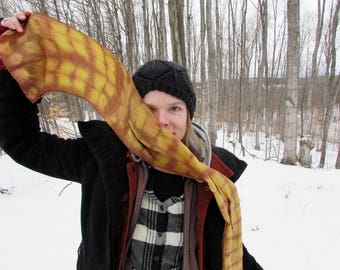 Naturally Dyed Silk Scarf - Wearable Art - Complex Cloth