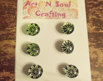 Green, White, and Black Star Flower Gem Magnets