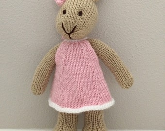 Knitted Bunny Rabbit, Stuffed Toy in Dress, Stuffed Bunny, Stuffed Animal, Soft Toy, Knitted Bunny