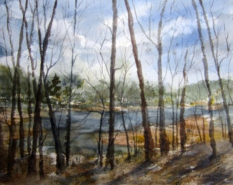 Watercolor Landscape, Archival Print, nature painting, lake painting, country landscape, scenic woodland lake, landscape painting