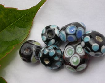 set of 6 Murano glass beads