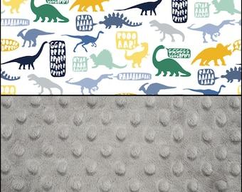 Dinosaur Minky blanket fabric bundle - Dear Stella cotton Stellasaurus - Shannon Fabrics Gray minky