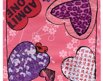 Hearts Print with Mat - Valentine - Love - Funky - Sparkle - Admit One