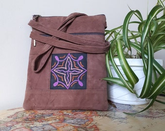 Handcrafted Kashmir Boho Chic Suede Leather Crossbody Purse in Dusty Mauve