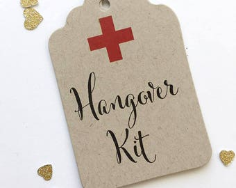 Hangover Survival Kit Kraft Favor Tags, Hangover Kit Favor Tags, Wedding Party Weekend Favor Bag Tags (ST-542-KR)