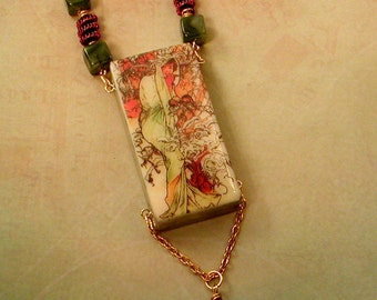 "Alphonse Mucha ""WINTER"" // Altered DOMINO NECKLACE // Spiral Wire Beads // Jade Green Copper Gold Art Nouveau"
