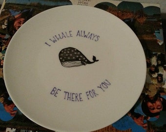 Hand Painted plate porcelain WHALEFRIENDS