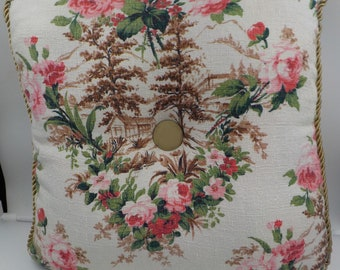 Vintage Tapestry Throw Pillow - Decorative Pillow - Pink Roses - Trees - Gold Braiding - Square - 16 X 16