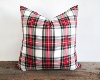 Pillow Cover Stewart Modern Dress Stewart White Tartan Plaid Zipper Opening